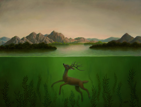 submerged-deer